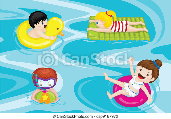 Ilustraciones de Vectores de niños, natación, piscina - Un, vector ...