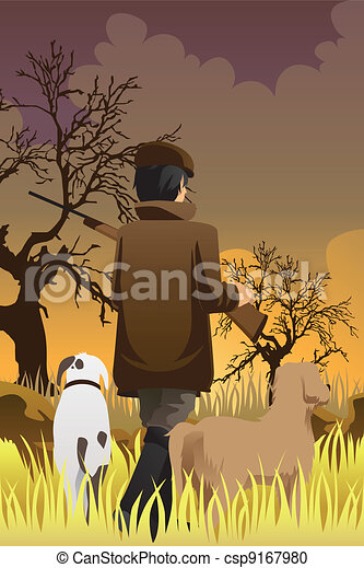 Hunter with two dogs - csp9167980