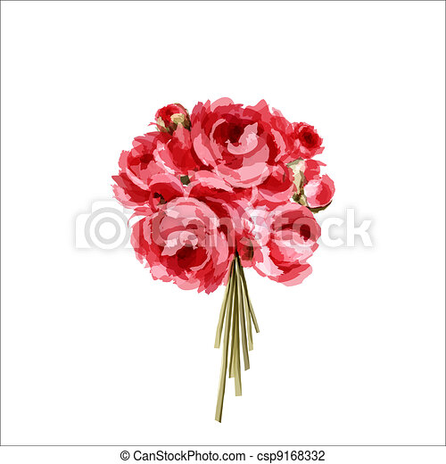 Bouquet of red and pink peonies - csp9168332