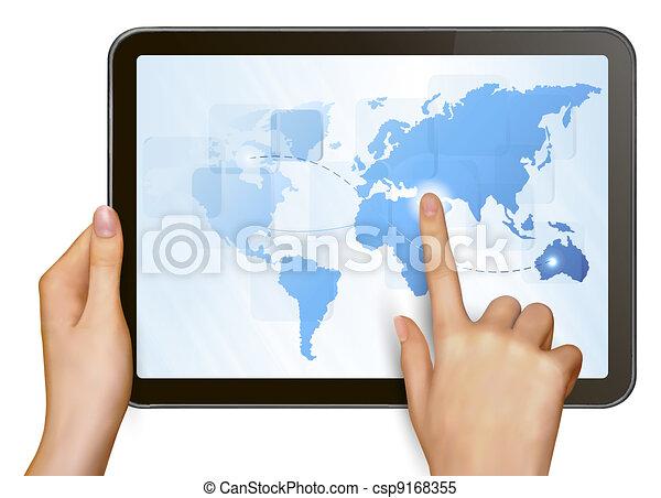 Finger touching world map  - csp9168355
