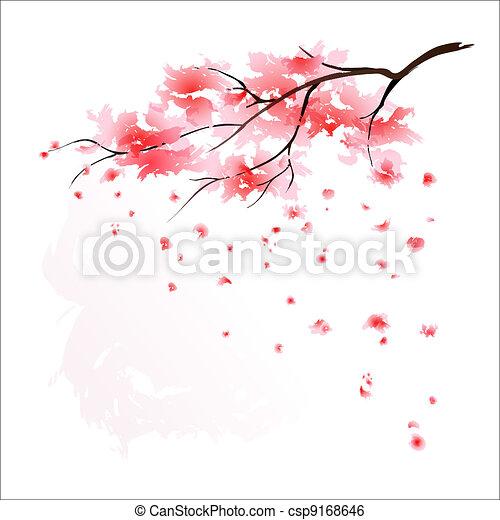 Stylized Japanese cherry tree - csp9168646