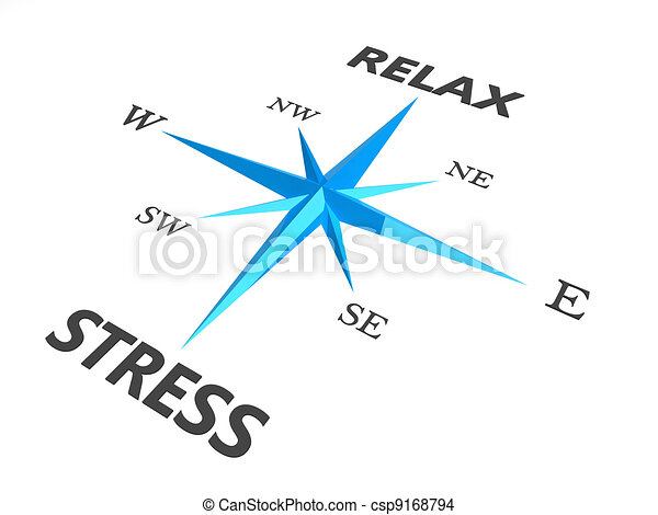 relax stress and relax words on compass conceptual image - csp9168794