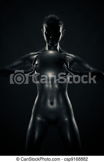 Metallic woman with ball - csp9168882
