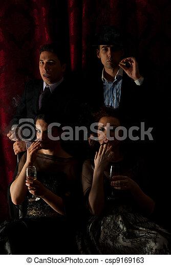 Retro families smoking in darkness - csp9169163