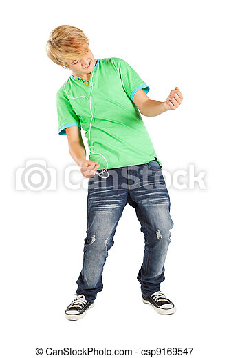 teen boy playing air guitar isolated on white - csp9169547
