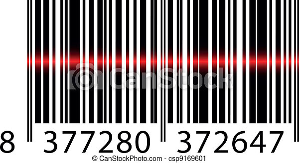 Vector barcode with laser beam - csp9169601
