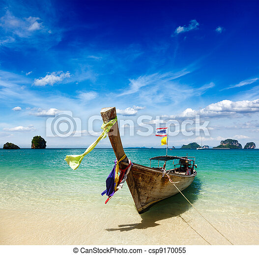 Long tail boat on beach, Thailand - csp9170055