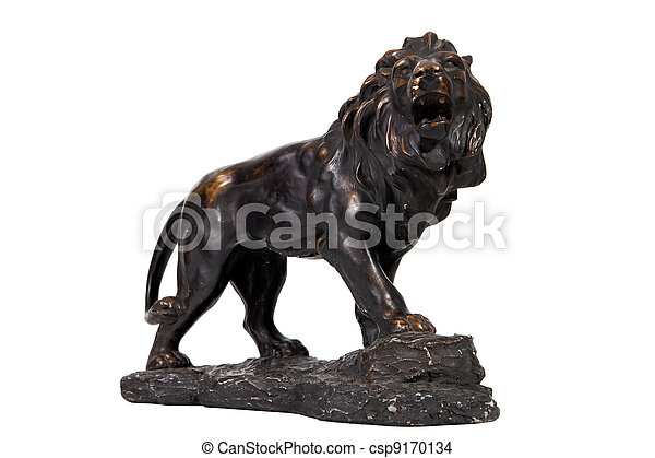 Stock Photo Vintage Lion Statue Home Decoration On White Background