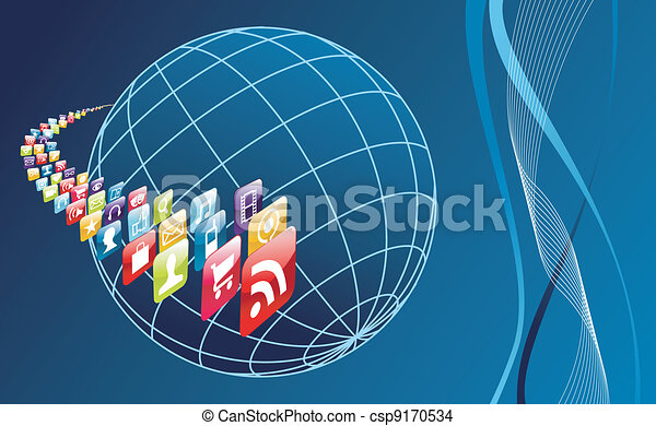 Global mobile phone apps icons arround the world - csp9170534