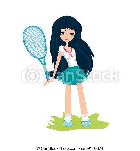 Young girl with a tennis racket - csp9170674