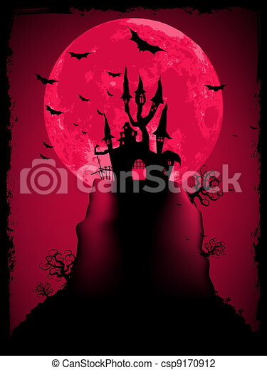 Scary halloween vector with magical abbey. EPS 8 - csp9170912