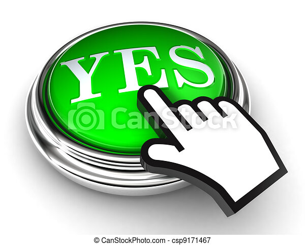yes green button and pointer hand - csp9171467