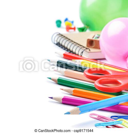 School stationery isolated over white - csp9171544