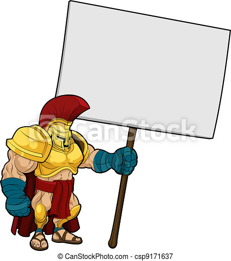 Tough Spartan or Trojan holding sign board - csp9171637