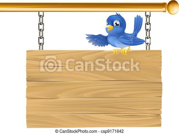 Cute bluebird sitting on hanging si - csp9171642