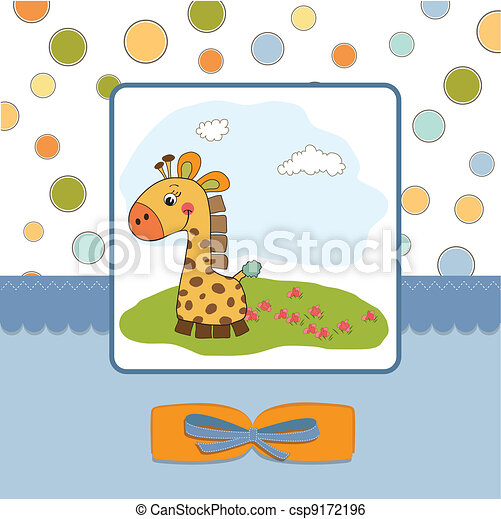 childish greeting card with giraffe - csp9172196