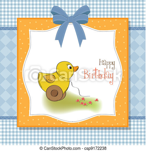 welcome baby card with duck toy  - csp9172238