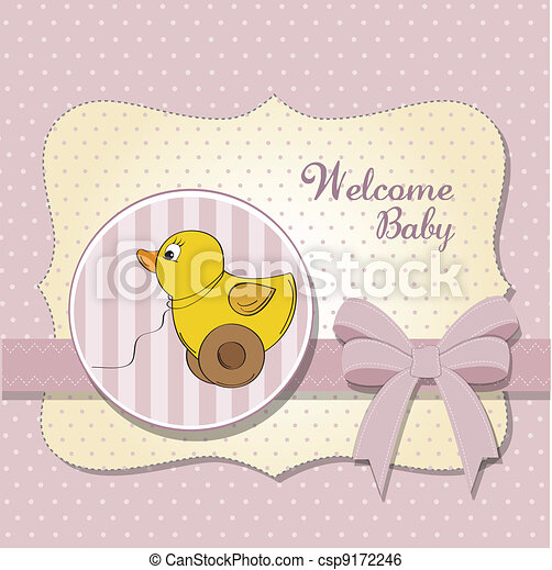 welcome baby card with duck toy - csp9172246