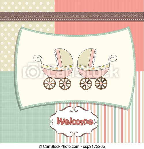 delicate baby twins shower card  - csp9172265