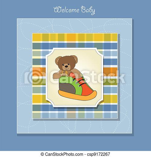 shower card with teddy bear hidden  - csp9172267