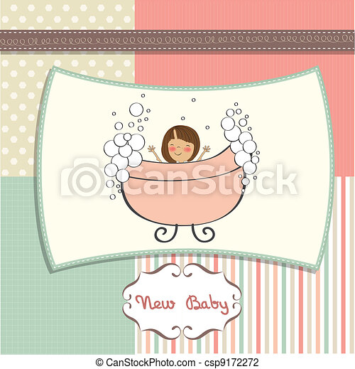 delicate baby girl shower card  - csp9172272
