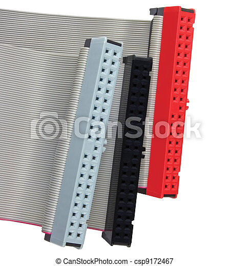 IDE connectors and ribbon cables for hard drive on PC - csp9172467