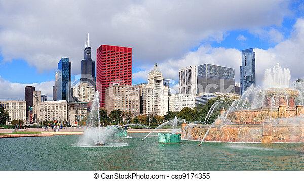 Chicago  Buckingham fountain - csp9174355