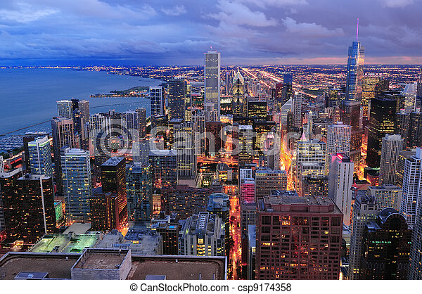 Chicago skyline panorama aerial view - csp9174358