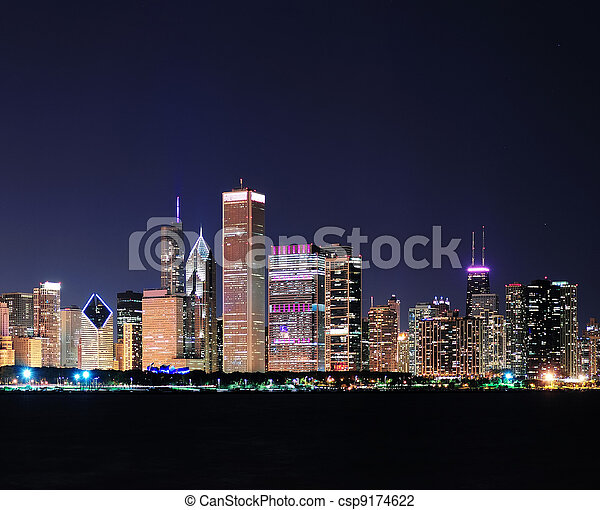 Chicago skyline at dusk - csp9174622