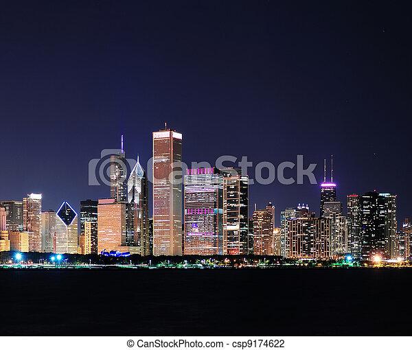 Chicago skyline at dusk - csp9174622