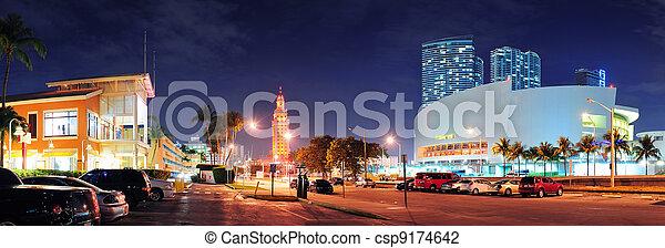 Miami downtown street panorama - csp9174642