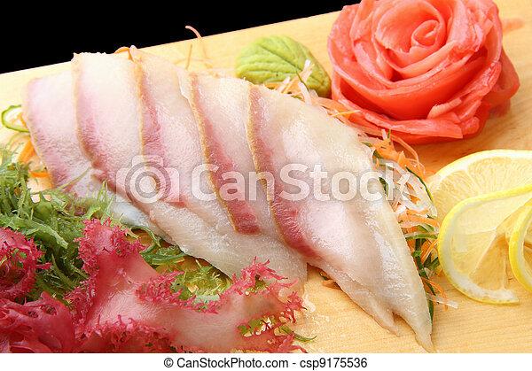 sashimi,  hamachi, en, Un, tabla, Primer plano - csp9175536