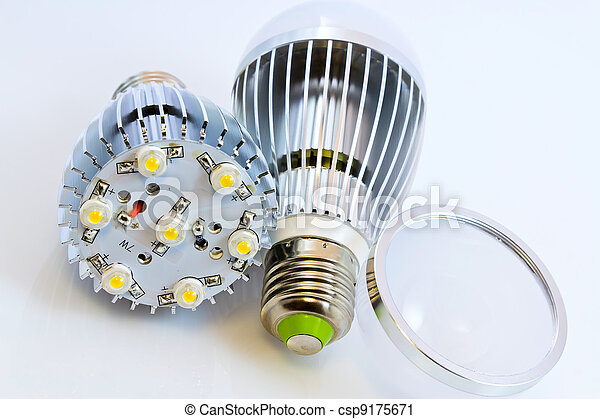 two LED light bulbs with 1 Watts SMD chips one of them  without cover glass - csp9175671