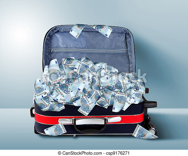 Suitcase full of banknotes - csp9176271