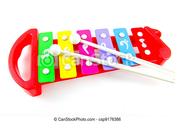 Toy colorful xylophone on white background - csp9176386