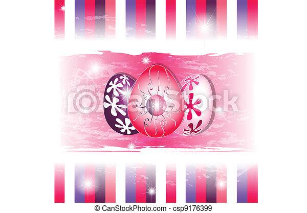 3 Vivid eggs in stripes modern background - csp9176399