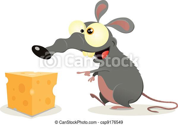 Cartoon Rat And Piece Of Cheese - csp9176549