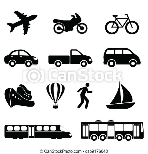Transportation icons in black - csp9176648