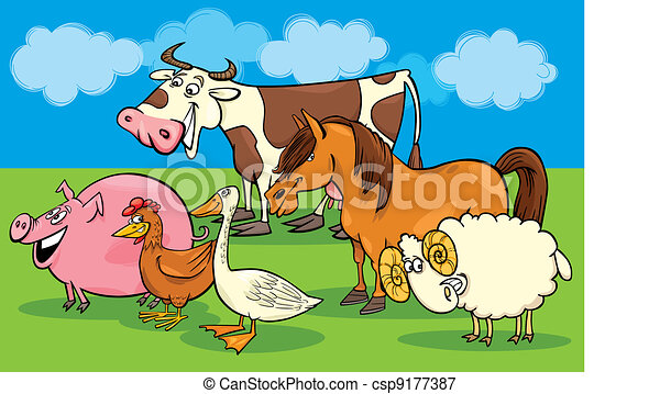 Group of cartoon farm animals - csp9177387