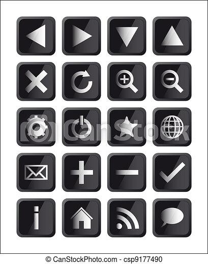 Glossy Black Square Navigation Web  - csp9177490