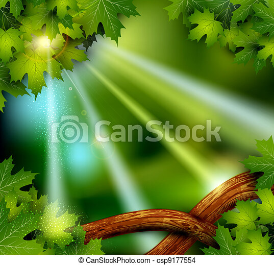 background of the mystical mysterious forest with trees a - csp9177554