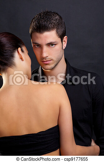 Couple in love with handsome man and rear woman - csp9177655