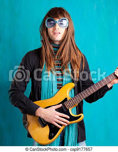 humor retro vintage hip heavy seventies guitar player - csp9177657