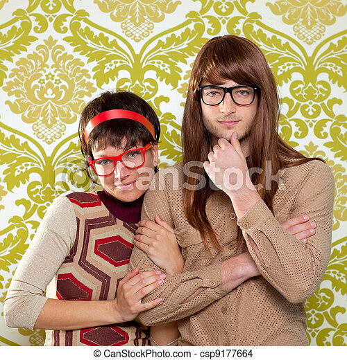 Funny humor nerd couple on vintage wallpaper - csp9177664