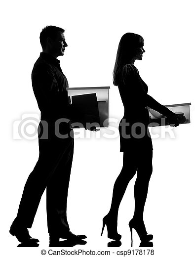 one couple man and woman walking carrying boxes happy - csp9178178