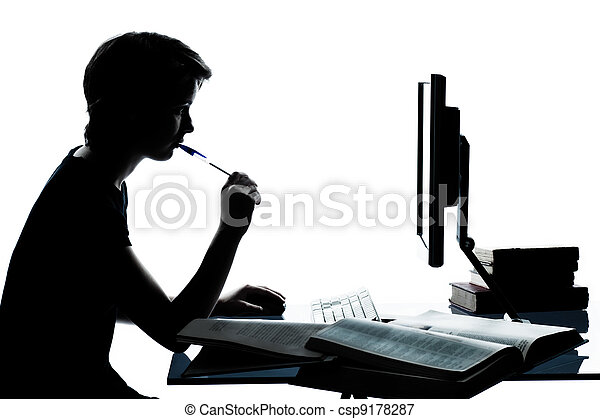 one caucasian young teenager silhouette boy or girl studying with computer computing laptop in studio cut out isolated on white background - csp9178287