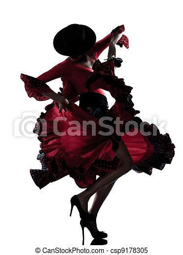 woman gipsy flamenco dancing dancer  - csp9178305