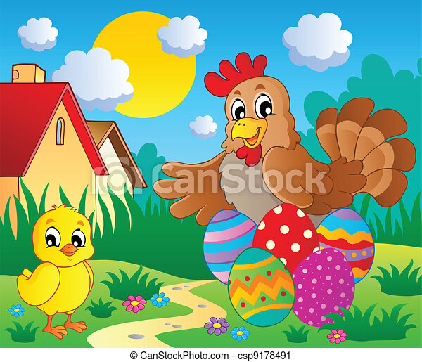 Vector Clip Art of Scene with spring season theme 5 ...