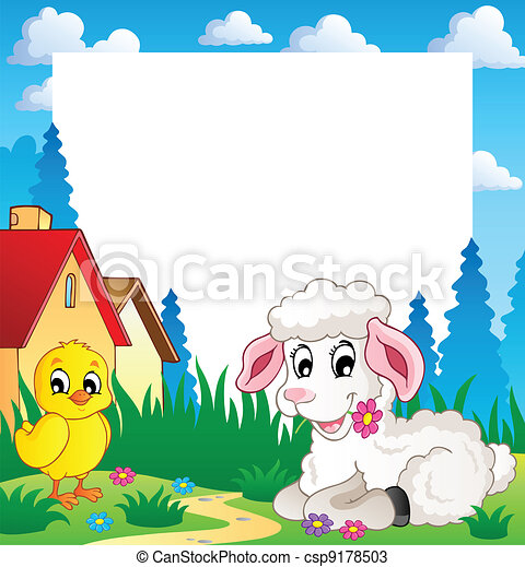 Frame with Easter theme 3 - csp9178503