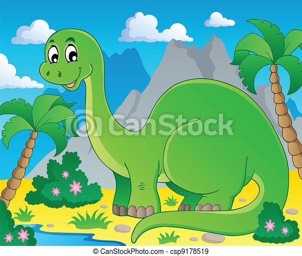 Scene with dinosaur 1 - csp9178519